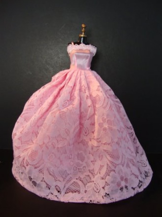 027e62b30e6 Kings Toy (Ousamano Omocha) Rakuten Ichiba Shop  Barbie dress-up dress    clothes for P4 (A Lovely Yet Simple Pink Gown with Pink Flowered Lace on  Top Made ...