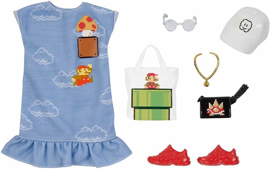 バービーの着せ替え衣装セットで遊ぼう 通信販売 バービー ファッションアクセサリーパック スーパーマリオ 水色ワンピース Barbie Storytelling 倉庫 Fashion Pack of Doll Clothes Inspired by かばん 靴 Print Mario: with Graphic GJG48 Super アクセサリ 服 Dress MATTEL