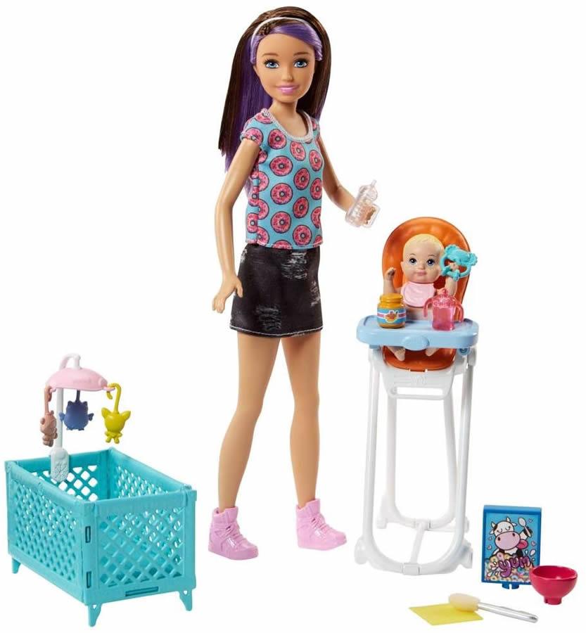 バービーのベビーシッターセット 赤ちゃんのお世話 楽しいな お人形付きですぐに遊べます バービー スキッパーのベビーシッター ドール 店 2体 お食事セット 人気の製品 3 ハウス Doll Barbie Playset MATTEL Skipper FHY98 with Babysitting バービー人形