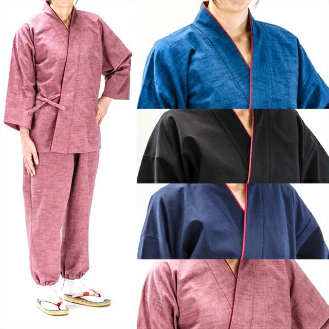 作務衣 紬織 【日本製】 女性用 レディース 婦人 女性 春 夏 秋 3シーズン対応 『敬老の日』や『誕生日』のプレゼントに最適『ラッピング無料』『送料無料』筒袖仕様がリラックスできます。