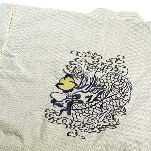 本格仕様 甚平 作務衣の専門店が作った刺繍甚平 敬老の日 お誕生日 再再販 ギフト 宝珠 龍 刺繍 龍の刺繍甚平 白杢 じんべい 背中に黄金の珠を持つ メンズ セール品 クールでかっこいい Japan クールジャパン 差をつけるなら刺繍甚平Cool