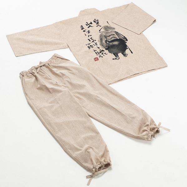 綿/先染めネップ入り・「山頭火」背中に手描き絵・作務衣