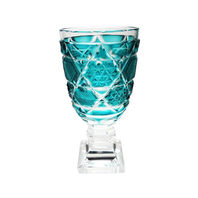 伝匠 薩摩切子 脚付杯(中) 緑 母の日 父の日 ギフト 薩摩切子 グラス 脚付杯 薩摩切子グラス 還暦祝 結婚祝 退職祝 記念品※北海道・東北地区は、別途送料1000円が発生します。※代引不可商品