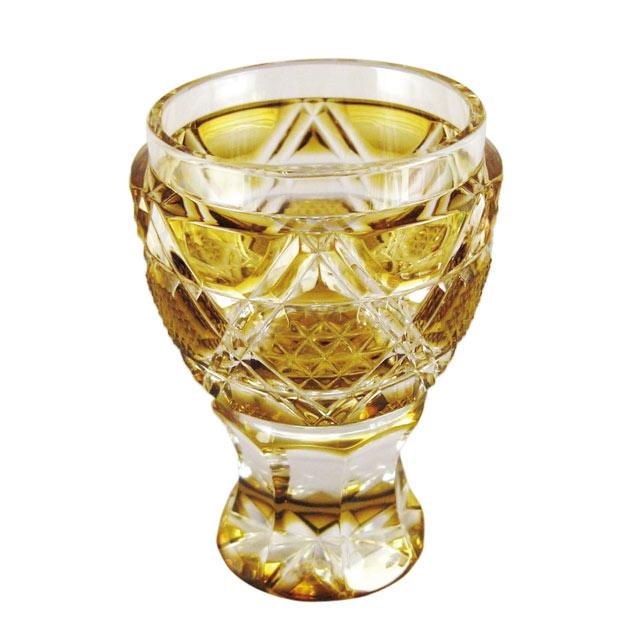 薩摩切子 馬上杯 黄 母の日 父の日 ギフト プレゼント 薩摩切子 グラス 還暦祝 結婚祝 退職祝 記念品