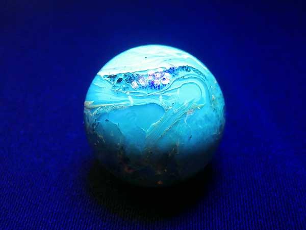 ドミニカ産 ブルーアンバー(琥珀)ブラウン 丸玉 19.8mm 4.4g