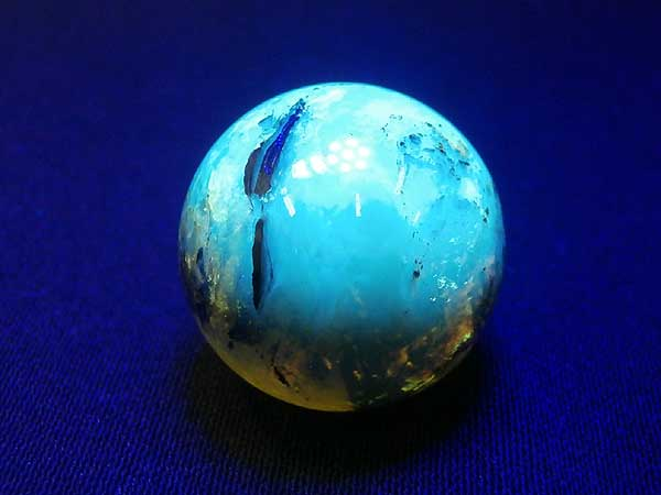 ドミニカ産 ブルーアンバー(琥珀)イエロー 丸玉 20.3mm 4.6g