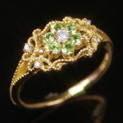 【ペリドット ダイヤモンド ゴールド リング 指輪・リレン】イブニング・エメラルドが咲く!?ペリドットのクラシカルリング 指輪を入荷! 華奢 シンプル ファッションリング レディース 可愛い ゆびわ ジュエリー クリ ブランド 宝石 おしゃれ