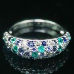 【ブラジル産パライバトルマリン ダイヤモンド ゴールド リング 指輪・シューリッシュ】これ以上ないくらい贅沢な、涼やか夏色パヴェ♪華奢 シンプル ファッションリング レディース 可愛い ゆびわ ジュエリー ブランド 宝石 おしゃれ