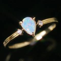 オーストラリア産オパール ダイヤモンドリング レディース 指輪・スーレン ペアシェイプ ピンクゴールド ホワイトゴールド 華奢 シンプル ファッションリング 可愛い ゆびわ ジュエリー 10K K10 10金 ブランド 宝石 おしゃれ