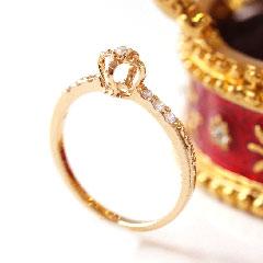 【0.1ctダイヤモンド ゴールド リング 指輪・フュルベール】【クラウン】 誕生日プレゼント 華奢 シンプル 可愛い ゆびわ ジュエリー ブランド 宝石 おしゃれ