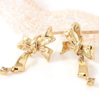 ダイヤモンド カラーゴールドピアス レディース・シェリーナ 大人気のリボンモチーフ りぼん 可愛いピアス ジュエリー 10K K10 10金 ブランド 宝石