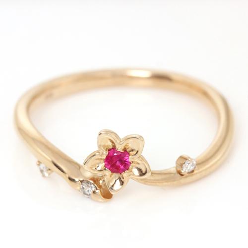 ルビー 7月誕生石リング ダイヤモンド K18 ピンクゴールド ピンキーリング レディース 指輪・パッシュモア フラワー お花 モチーフ 18金 18K サイズ3号から 桜 花 モチーフ ファランジリング ミディリング 桜 アクセサ ボタニカル柄 ブランド 宝石 おしゃれ
