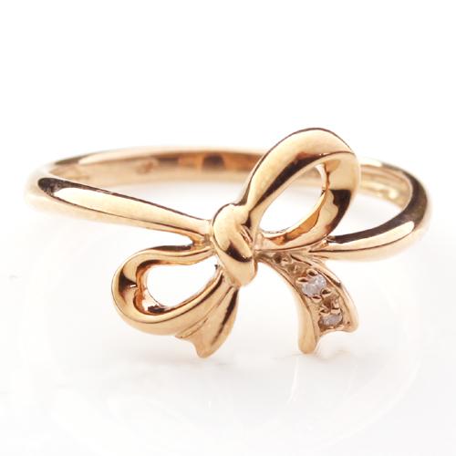 ダイヤモンド ピンクゴールドリング 指輪 レディース・リュバン ピンキーリング対応 リボン りぼんモチーフ かわいい ファランジリング 華奢 シンプル ファッションリング 可愛い ゆびわ 誕生日プレゼント 女性 立体的 10K ブランド 宝石 おしゃれ