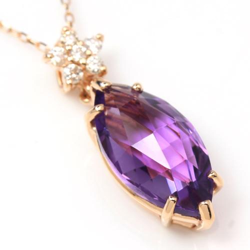 ダイヤモンド ダブルローズカットアメジスト カラーゴールドネックレス レディース ペンダント・トゥリッリ 2月の誕生石 人気のマーキスカット 華奢 シンプル ジュエリー 大粒 デザイン おしゃれ かわいい ブランド 宝石