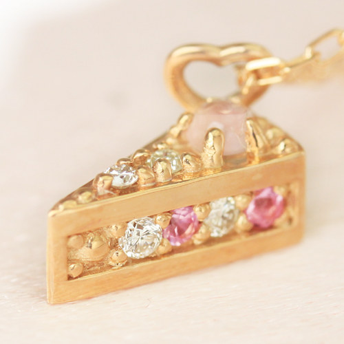 ダイヤモンド ピンクサファイア カラーゴールドネックレス レディース ペンダント・デコレムール*ショートケーキ*キュートなケーキカラーストーン モチーフジュエリーコンテストからデビュー 華奢 シンプル クリスマ ブランド 宝石