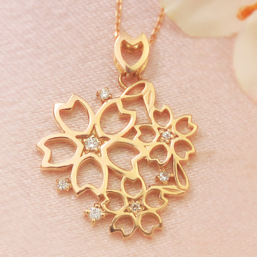 桜 ネックレス レディース ダイヤモンド ピンクサファイア カラーゴールドネックレス レディース ペンダント・チェリデューラ 桜のネックレス レディース 満開 ゴージャス 誕生日プレゼント 大ぶり 桜 アクセサリー さくら お ブランド 宝石