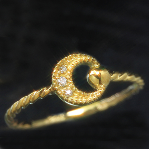 ダイヤモンド 10K ゴールド リング レディース 指輪・ルナリルシェ 大人気の三日月カラーストーン モチーフ! 10金 K10 ムーン イエローゴールド ピンクゴールド ホワイトゴールド ねじねじ 大人かわいい おしゃ ブランド 宝石 おしゃれ