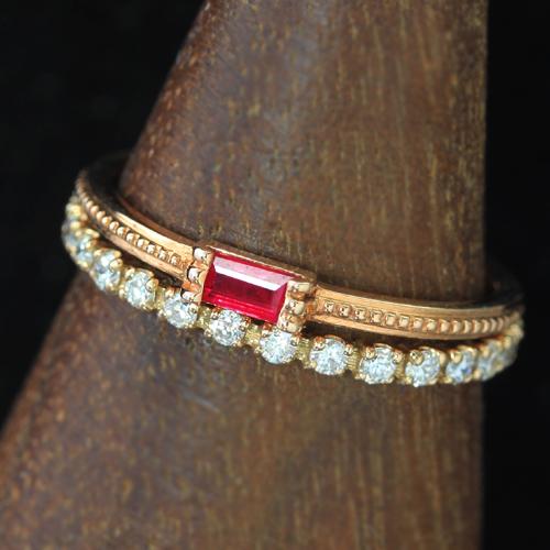 バケットカット ルビー 10K ピンクゴールド ホワイトゴールドリング レディース 指輪・グリッシュ 重ねづけ 重ね着け 結婚指輪 マリッジリング 極細リング 華奢リング おしゃれ 人気 おすすめ 10金 K10 華奢 シンプル ファッションリング ジュエリー ブランド 宝石