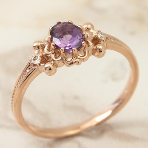 ダイヤモンド アメジスト ピンクゴールド リング レディース 指輪・キルスティ 2月の誕生石リング デザインリング クラシカル アンティーク風 華奢 シンプル ファッションリング 可愛い ゆびわ ジュエリー 10K K10 10金 ブランド 宝石 おしゃれ