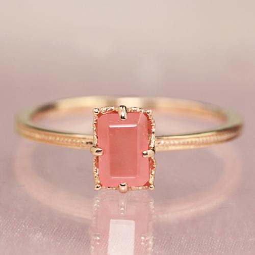 インカローズ ロードクロサイト ピンクゴールド リング レディース 指輪・エレナローザ 大粒 バケットカット ファッションリング 可愛い ゆびわ ジュエリー ブランド 宝石 おしゃれ