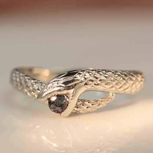 エメラルドマイン社ブラジル産0.1ctアレキサンドライト K18ホワイトゴールド リング レディース 指輪・サンダー・アスクレピオス(カラーチェンジ チェンジカラー) 華奢 シンプル ファッションリング 可愛い ブランド 宝石 お