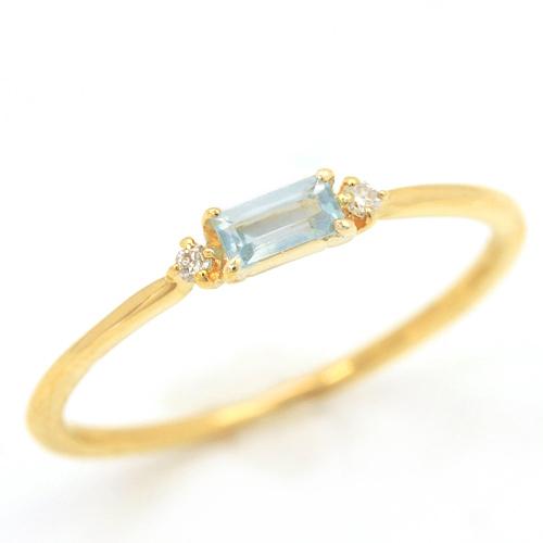 バケットカット アクアマリン ダイヤモンド 10K ゴールド リング レディース 指輪・ロレイン 3月の誕生石リング 華奢 シンプル おしゃれ ファッションリング 可愛い ゆびわ ジュエリー ブランド 宝石