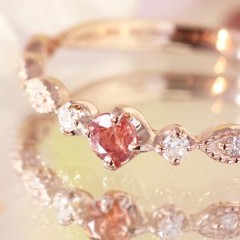【数量限定】桜色カラーチェンジシャンパンガーネット ダイヤモンド 10K ゴールドリング レディース 指輪・ラプリューム 華奢 シンプル 1月の誕生石リング K10 10金 ファッションリング ジュエリー ブランド おしゃれ