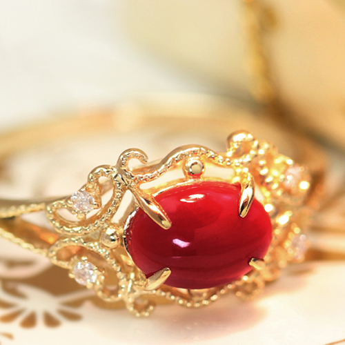 土佐沖産血赤珊瑚 ダイヤモンド 18K ゴールドリング レディース 指輪・ドゥクレシア 18金 K18 稀少 赤サンゴ 赤さんご 天然 0.55ctアップ 華奢 シンプル ファッションリング赤 還暦 おすすめ 可愛い ゆびわ 大粒 ゴージャス 3月誕生石リング ブランド 宝石 おしゃれ