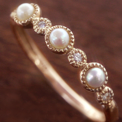 パールとダイヤモンドの指輪