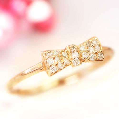 【最安値に挑戦】0.1ctパヴェダイヤモンド 10K ゴールドリング レディース 指輪・アールリュバン 大人気 リボン りぼんモチーフ 誕生日プレゼント 女性 ファッションリング K10 10金 極細リング 重ねづけリン ブランド 宝石 おしゃれ