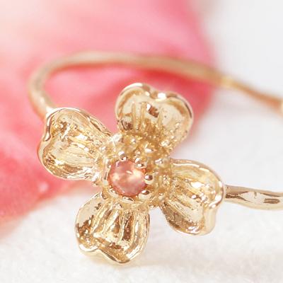 インカローズ 北海道産ロードクロサイト リング レディース 指輪・ハナミズキ K10 ピンクゴールド お花 フラワーカラーストーン モチーフ 大人ファッションリング 可愛い ゆびわ ジュエリー ボタニカル柄 ブランド カラフル 宝石 おしゃれ