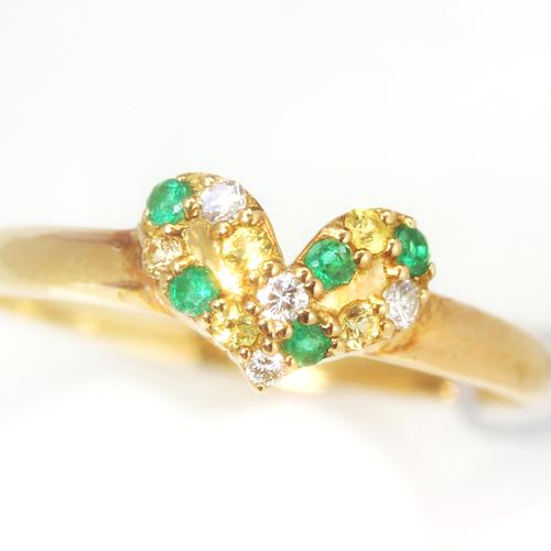 コロンビア産エメラルド ダイヤモンド イエローサファイア ゴールド リング レディース 指輪・エイリッシュ 【8~13号】(パート/パヴェリング レディース 指輪) 華奢 シンプル ファッションリング 可愛い ゆびわ ジ ブランド 宝石 おしゃれ