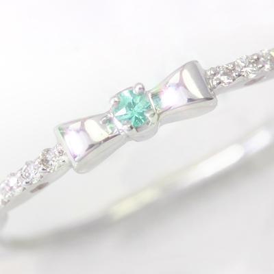 ブラジル産パライバトルマリン ダイヤモンド ホワイトゴールド リング レディース 指輪・ラナーニャ 華奢 シンプル ファッションリング 可愛い ゆびわ ジュエリー ブランド 宝石 おしゃれ