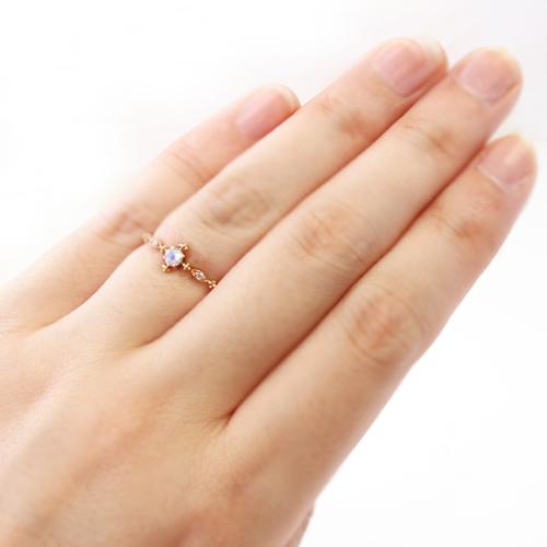 ブルームーンストーン 6月誕生石リング ゴールド リング レディース 指輪・ルナクラシック 華奢 シンプル ファッションリング 可愛い ゆびわ ジュエリー ブランド 宝石 おしゃれ