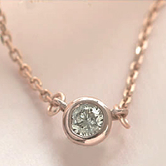 一粒ダイヤモンド K10 ピンクゴールド イエローゴールド ホワイトゴールド ネックレス レディース ペンダント・アニヴェルセル 10K 10金 重ねづけ 華奢 シンプル ジュエリー フクリン 覆輪留め ベゼルセッティング ダイアモンド ブランド 宝石