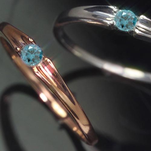 ブルーダイヤモンド ゴールド リング レディース 指輪・セレーナ 華奢 シンプル ファッションリング 可愛い ゆびわ ジュエリー ブランド 宝石 おしゃれ
