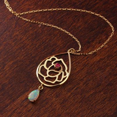オパール ルビー カラーゴールド ネックレス レディース ペンダント・エリーナ バラ 薔薇華奢 シンプル ジュエリー ブランド 宝石
