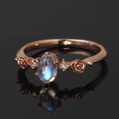 ブルームーンストーン 6月誕生石リング ダイヤモンド ゴールド リング レディース 指輪・ティアローズ 10K K10 10金 大人気のバラ 薔薇の花モチーフ カラーストーン ファッションリング 可愛い ゆびわ ジュエリー ブランド 宝石 おしゃれ