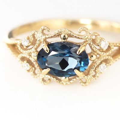 ロンドンブルートパーズ ダイヤモンド ゴールド リング レディース 指輪・ディープルブレン 10K K10 10金 アンティークジュエリーのようなデザインリング 華奢 シンプル ファッションリング 可愛い ゆびわ ゴージャス 大粒 11月誕生石リング ブランド 宝石 おしゃれ