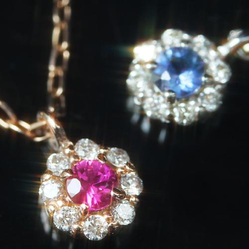 【最安値に挑戦】ルビー サファイア エメラルド 12種類の誕生石が選べる ダイヤモンド/バースストーン カラーゴールドネックレス レディース ペンダント・エスペランサ 誕生日プレゼント 女性 華奢 シンプル 花 フラワーモチーフ 10K K10 10 ブランド 宝石