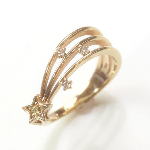誕生石リング ダイヤモンド K10 ピンキーリング 指輪 レディース・スターウィッシュ ピンクゴールド ホワイトゴールド 10金 10K 流れ星 カラーストーン モチーフ バースストーン ファランジリング ミディリング 可愛い ファッションリング お守り ブランド 宝石 おしゃれ