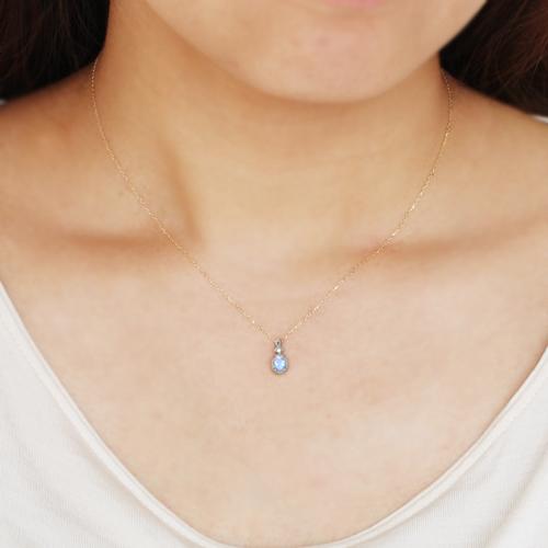 ロイヤルブルームーンストーン ダイヤモンド 10K ピンクゴールド ホワイトゴールドネックレス ペンダント レディース・ルアールナ かわいい 華奢 シンプル アンティーク調 クラシカル おしゃれ ネックレス 6月誕生石 誕生日 ブランド 宝石