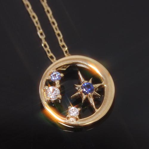 サファイアの星ネックレス