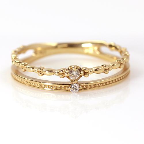 18K ダイヤモンド ゴールド ファランジリング・ルサレナ K18 18金 ミディリング 関節リング 二連 重ねづけ風 おしゃれ セレブ ピンキーリング 指輪 レディース サイズ1号から 華奢 シンプル 極細リング かわいい 指輪 リング ファッションリ ブランド 宝石