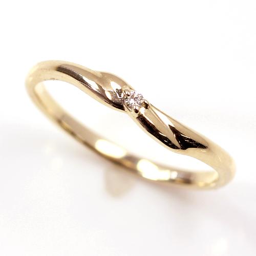 ダイヤモンド K10 ゴールドリング 指輪 ファランジリング レディース・レスプレット ミディリング 関節リング ピンキーリング 華奢 シンプル 流行 10K 10金 ツイスト ファッションリング ひねり デザイン おしゃれ 一粒ダイヤモンド ブランド 宝石