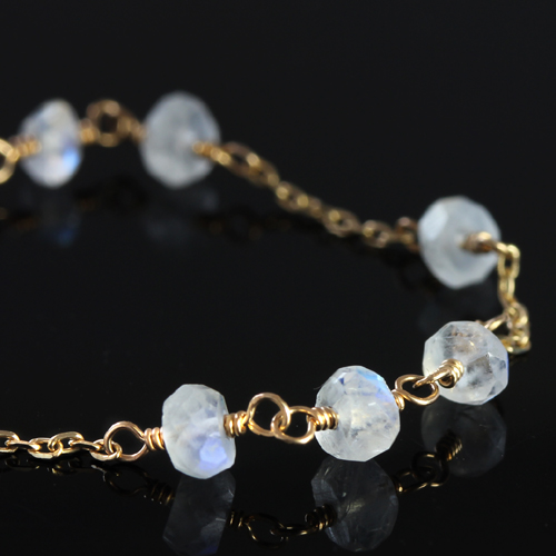 ブルームーンストーン 6月誕生石 K10 ブレスレット・シュクラ ピンクゴールド ホワイトゴールド イエローゴールド 華奢 レディース チェーンブレスレット おしゃれ 大人かわいい ジュエリー ブランド 宝石