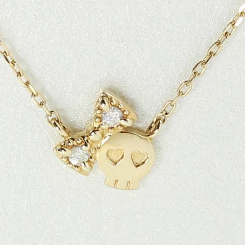 ダイヤモンド カラーゴールドネックレス ペンダント・ディアボーン スカル リボン かわいい 遊び心 シンプル 華奢 レディース ジュエリー ブランド 宝石