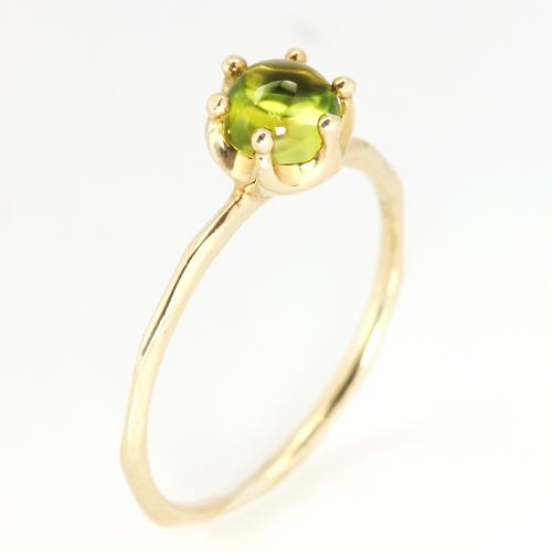 天然石 リング ピンクゴールド 指輪 K18PG 8月誕生石 ペリドット