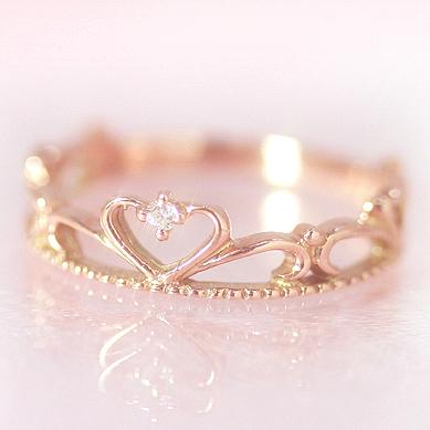 【あす楽対応】10金 ダイヤモンド ピンクゴールドリング 指輪・プリエール ピンキーリング対応 プリンセスのティアラ 王冠 クラウン 姫 ハート かわいい 小指の指輪 人気 レディース 10K K10 誕生日プレゼント 女性 ファランジリング ジュエリー ブランド 宝石 おしゃれ
