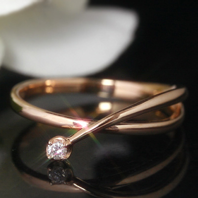 一粒ダイヤモンドリング 指輪 レディース K10 ピンクゴールド イエローゴールド ホワイトゴールドリング・ピルシェ ピンキーリング対応 サイズ1号から 華奢 シンプル キレイめ V字 デザイン ファランジリング ミディリングト ファッションリング おしゃれ ブランド 宝石